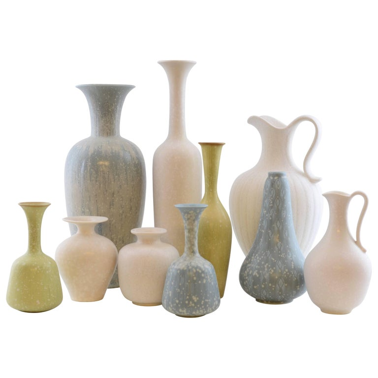 Set of Ten Vases by Gunnar Nylund for Rörstrand, Sweden For Sale