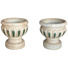 Pair of Aged Macael Marble Hand-Carved Planters with Serpentine Green Inlays