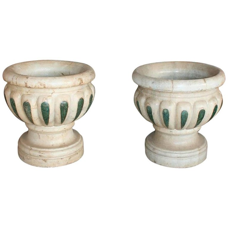 Pair of Aged Macael Marble Hand-Carved Planters with Serpentine Green Inlays For Sale