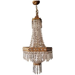 Square Empire Chandelier Crystal Sac a Pearl Lamp Lustre Art Nouveau
