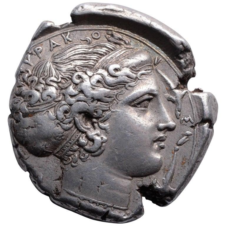 Superb Ancient Classical Greek Silver Tetradrachm Coin from Syracuse, 413 BC For Sale
