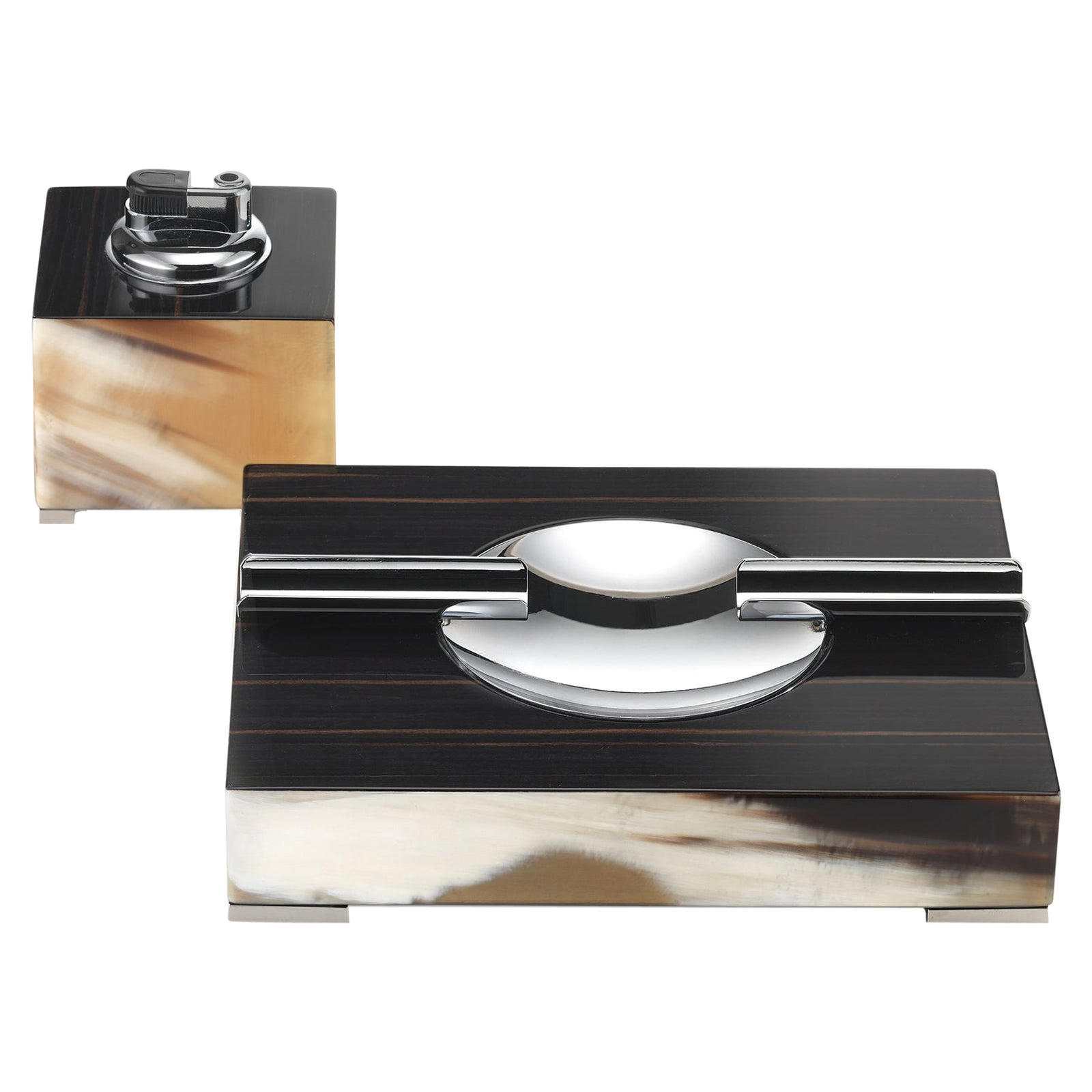 Ebony Square Lighter and Ash Tray Set