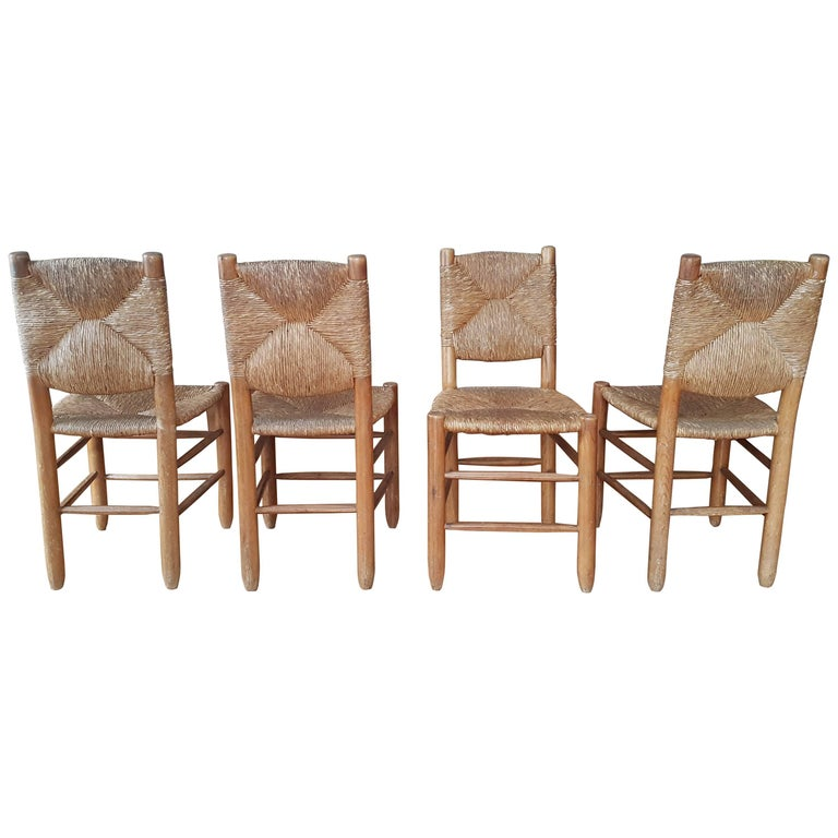 "Four ""Bauche"" Chairs from Charlotte Perriand from 1939 in Straw"