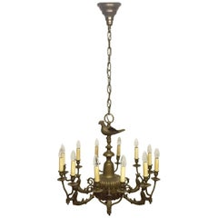 Large Solid Bronze Twelve-Light Chandelier, circa 1920s