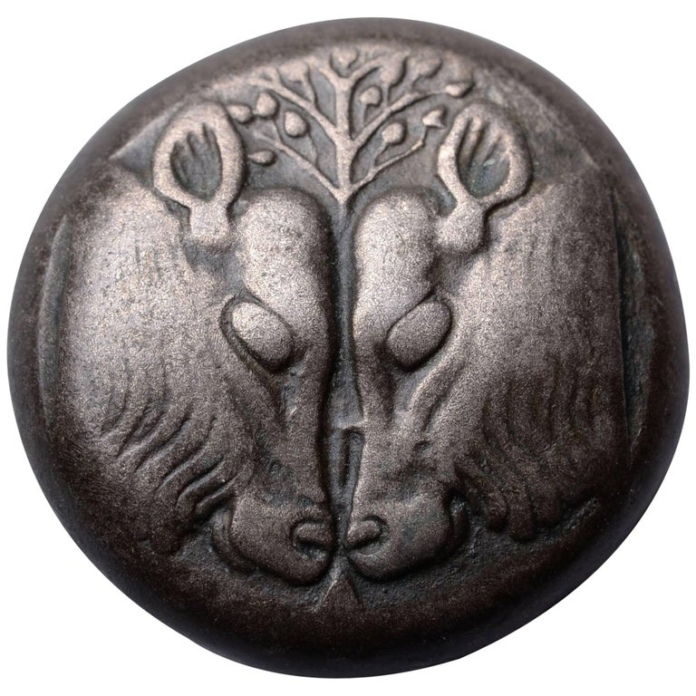 Ancient Greek Bull's Heads Stater Coin from Lesbos, 500 BC
