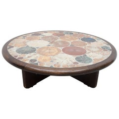Large Round Ceramic Art Tile Coffee Table by Tue Poulsen for Haslev, Denmark
