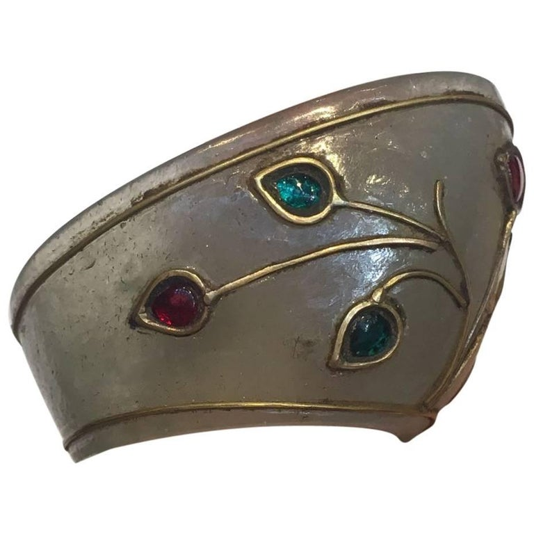 Indian 19th Century Jade Archer's Ring with Gold Inlay and Precious Stones
