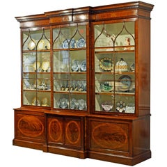 Majestic 19th Century English George III Inlaid Mahogany Breakfront Bookcase