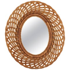 Mid-Century Modern Handcrafted Braided Rattan Oval Mirror, Spain, 1960s