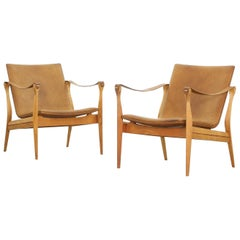 Pair of Safari Chairs by Karen & Ebbe Clemmensen for Fritz Hansen, 1960