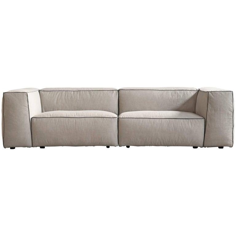 Santorini Handmade Contemporary Sofa, Tufted Cushions