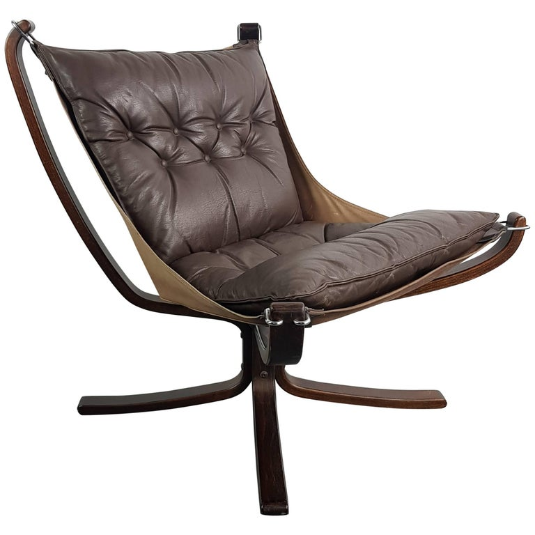 Vintage Low Back Brown Leather Falcon Chair Designed by Sigurd Resell
