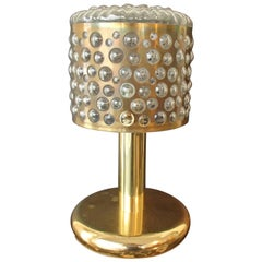 Mid-Century Modern Brass and Bubble Glass Table Lamp