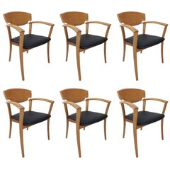 Set of Six Wooden Design of the 1980s Dining Armchairs