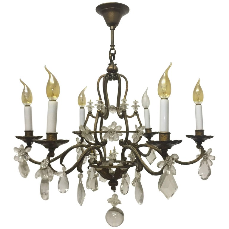 Gilt Iron and Crystal Chandelier in the Style of Maison Baguès, France, 1940s