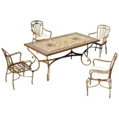 Set of Garden Furniture with Four Armchairs and One Top Mosaic Marble