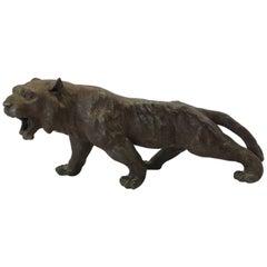 Asian Panther Lion Tiger Ebony Gunmetal Sculpture, Late 19th Century