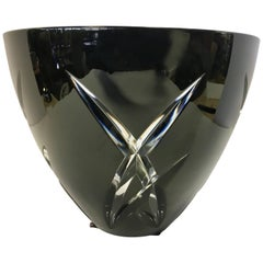 Signed John Rocha Waterford Black Cut Crystal Vase