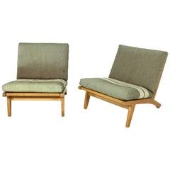 """Pair of Oak Lounge Chairs """"GE370"""" Hans J Wegner for GETAMA"""