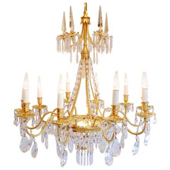 Directoire Style Chandelier with Crystal Pendants, circa 1970