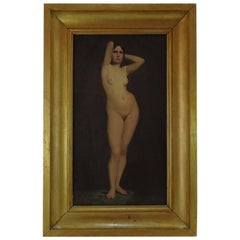 1850 Paul Jourdy Nude Painted Oil on Canvas