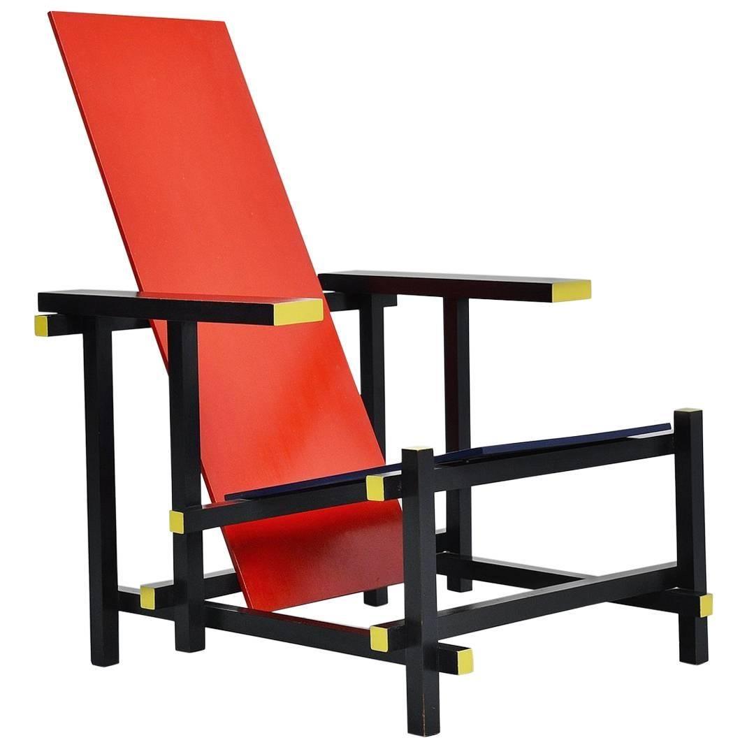 Gerrit Thomas Rietveld Red Blue Chair Gerard Van De Groenekan, 1966 For Sale