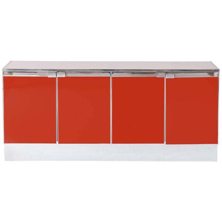 Red Lacquered and Chrome Credenza Maison Jansen