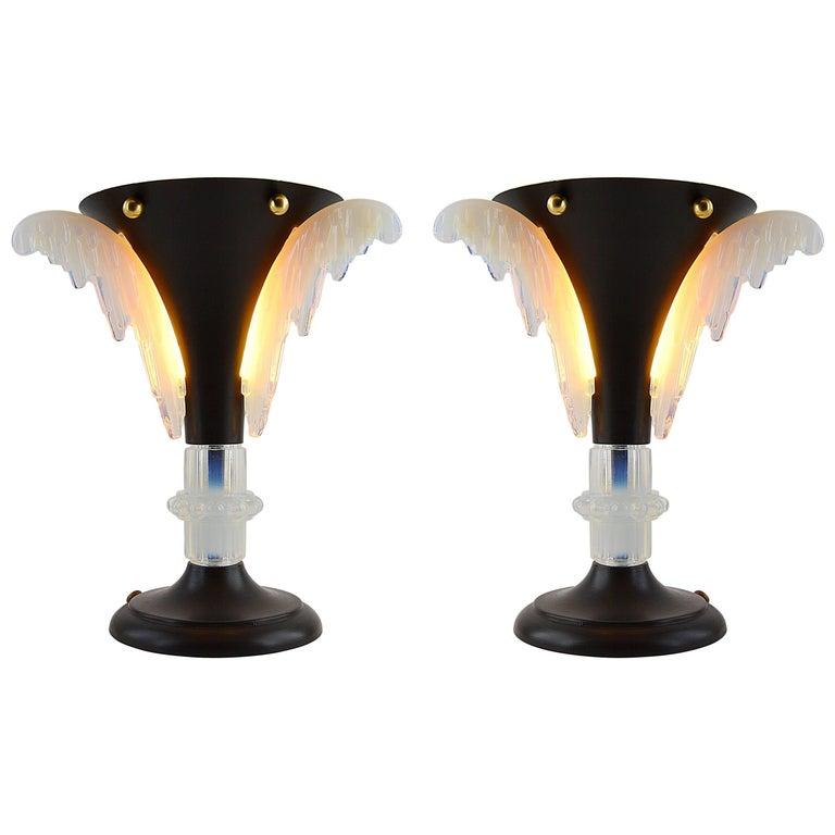 Petitot French Art Deco Pair of Lamps, circa 1930