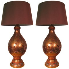 Pair of Midcentury Handmade Italian Terracotta Gilt Decorated Table Lamps
