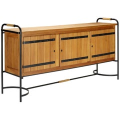 Stunning Large Sideboard by Jacques Adnet in Elm and Wrought Iron, France 1950's