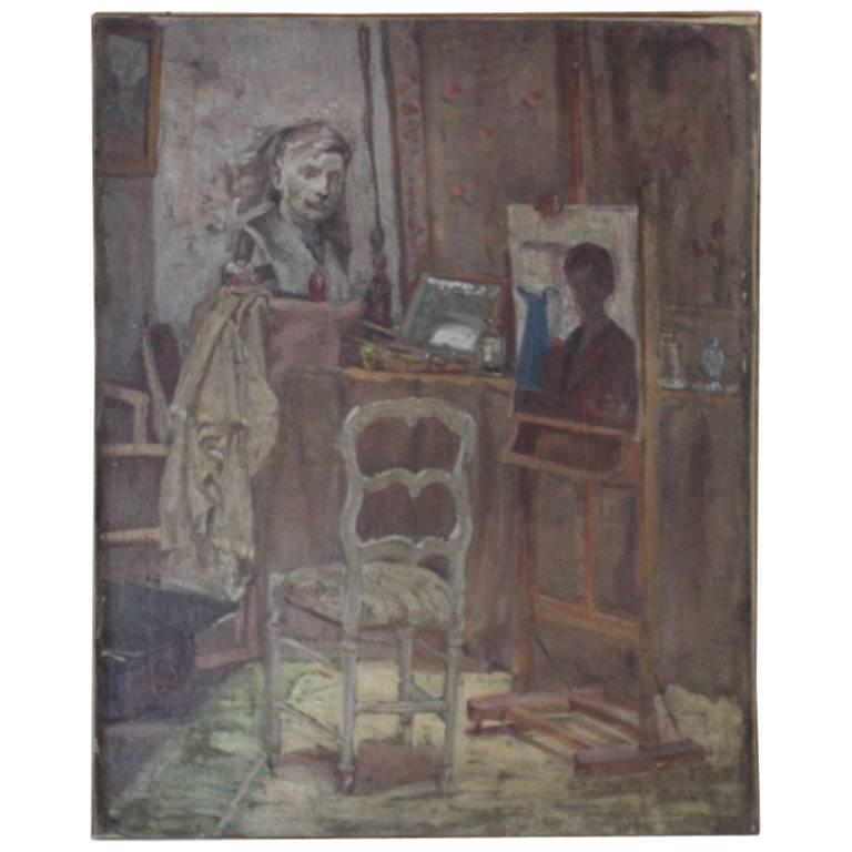 Early 20th Century French Oil on Canvas