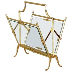 Fine Gilt Brass and Glass Magazine Holder Stand by Maison Baguès, France, 1950s
