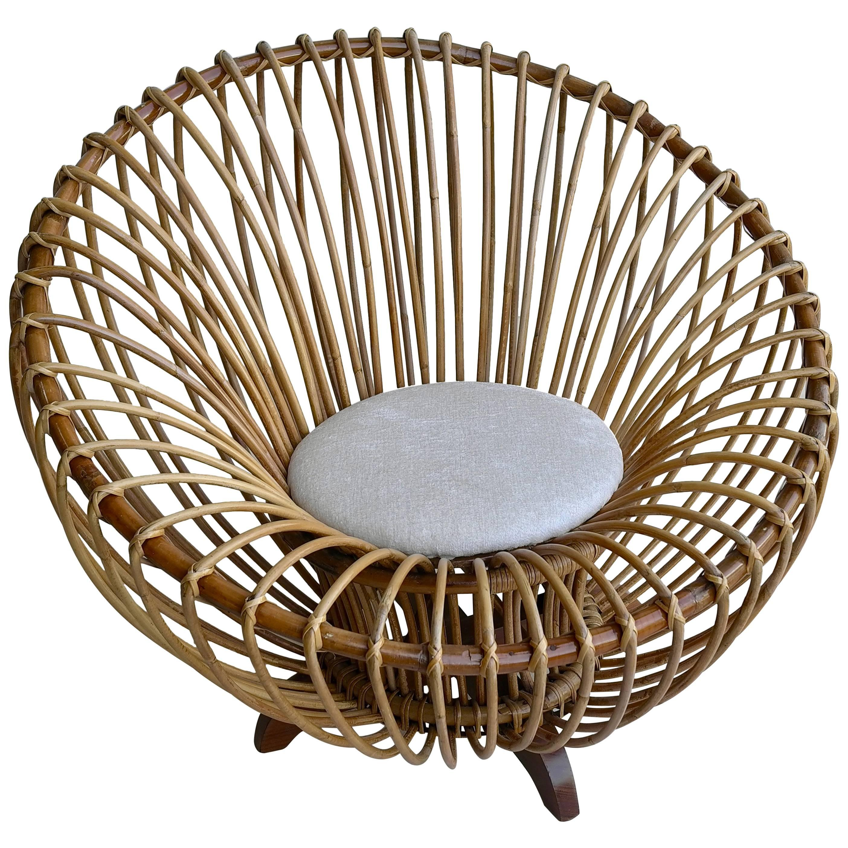 Elegant Round Bamboo Lounge Chair in Style of Franco Albini, Italy, 1950s