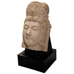 20th Century Decorative Carved Marble Head of Guan Yin