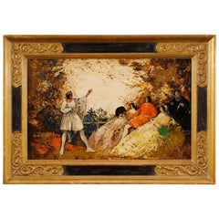 French Signed Painting Romantic Landscape with Characters Oil on Board