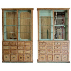Unusual Pair of 19th century Spanish Display Cabinets in Original Paint