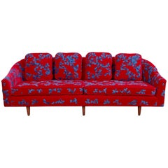 Harvey Probber Sofa with Jupe by Jackie Hand Embroidered Fabric