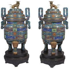 Pair of Monumental Chinese Blue Cloisonné Enamel Censers, Early 20th Century