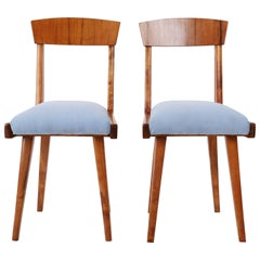 Set of Two 20th Century Baby Blue Wood Chairs, 1960s