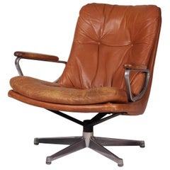 Mid-Century Modern Leather Lounge Chair Designed by André Vandenbeuck