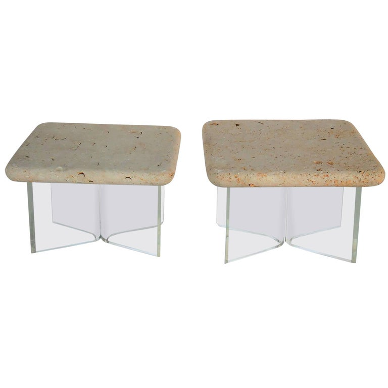 Lucite and Fossil Stone Pair of Side Tables, 1970s