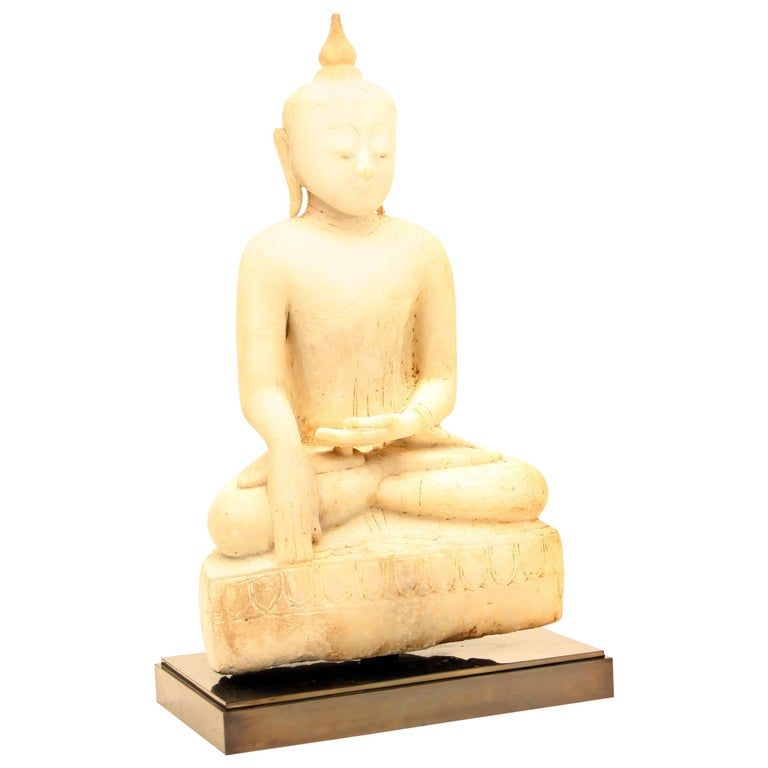 Antique Burmese Alabaster Seated Buddha, Shan Style, 18th Century