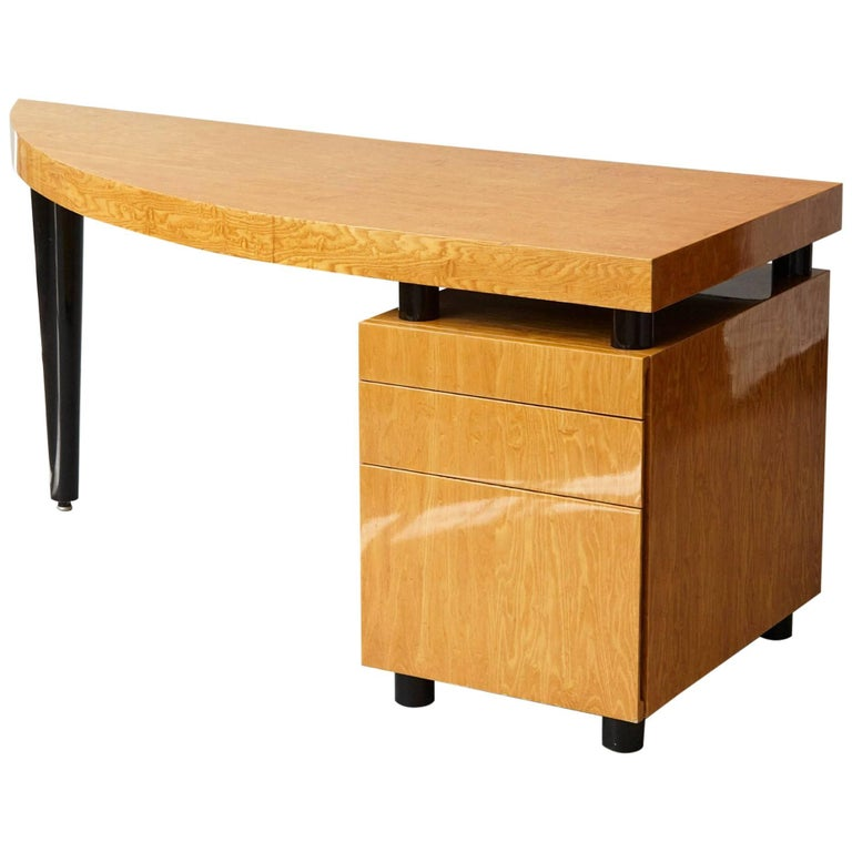 Triangular Memphis Style Inspired Lacquered 'Boca Desk' by Leon Rosen for Pace For Sale