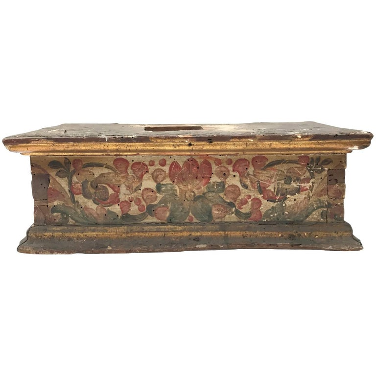Italian 1661 Baroque Basement Painted and Gilt Wood Sculpture Stand