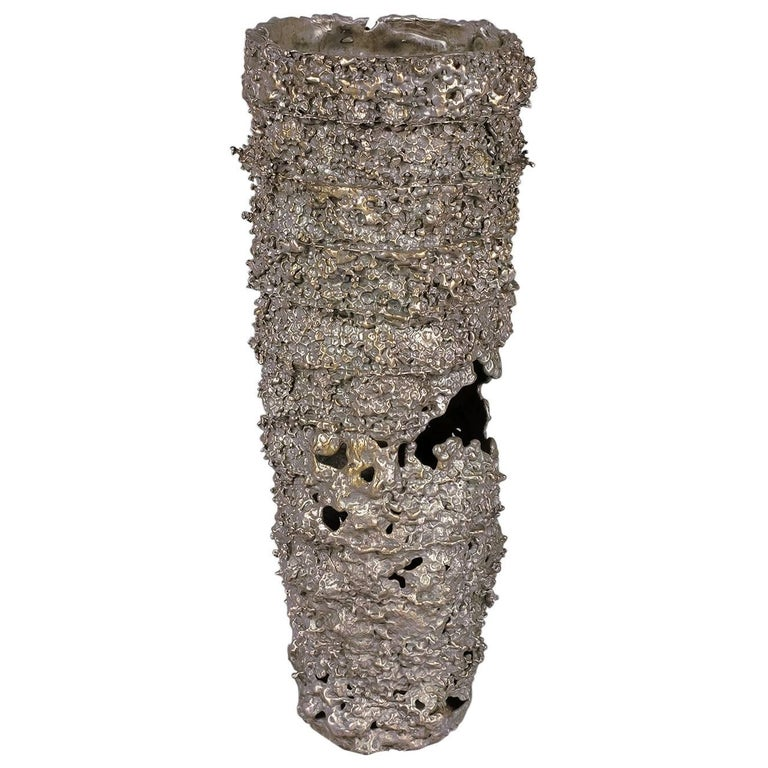 Fragments II  'Acid Cast' Bronze Vessel with Silver Nitrate Patina by Kris Lamba