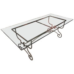 French Baker's Table Adapted to a Glass Top Dining Table