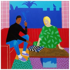 'All the Right Moves' Portrait Painting by Alan Fears Pop Art Chess