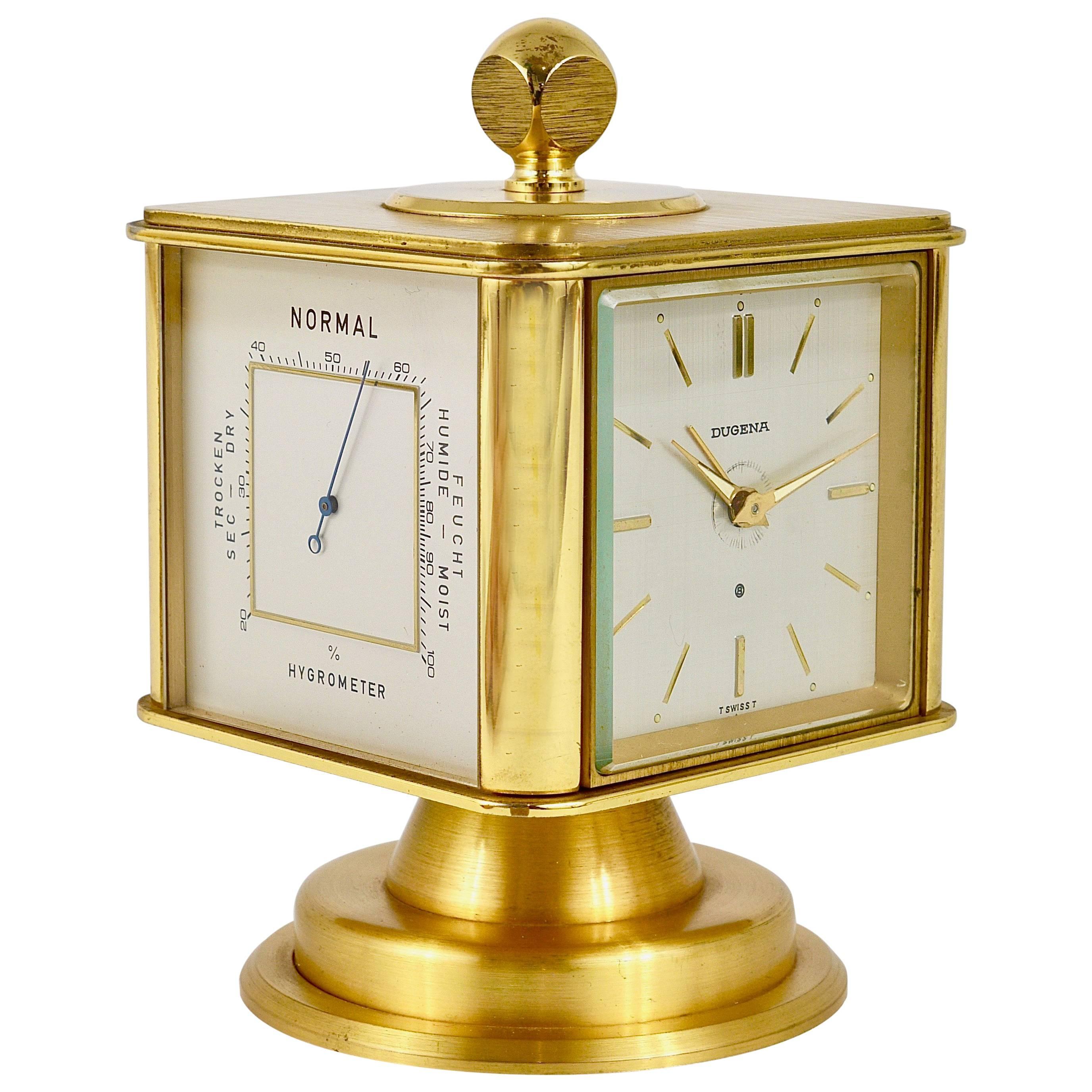 Rare Swiss Art Deco Rose Gilded Brass Angelus Meteo Desk Clock ...