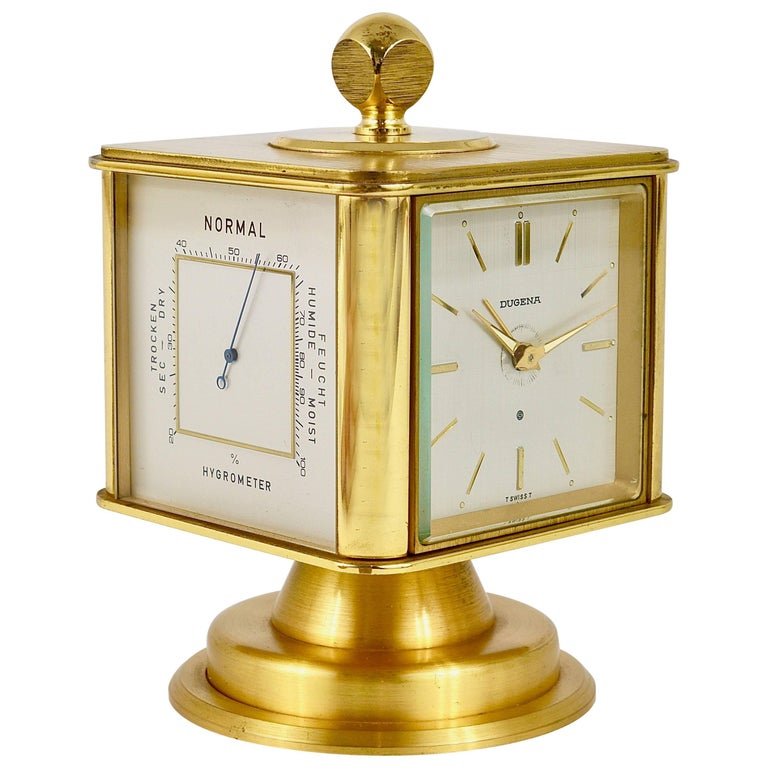 Hollywood Regency Brass Alarm Desk Clock and Weather Station by Dugena, Germany