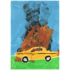 'When Good Dreams Go Bad' Painting by Alan Fears Acrylic on Paper Car Fire